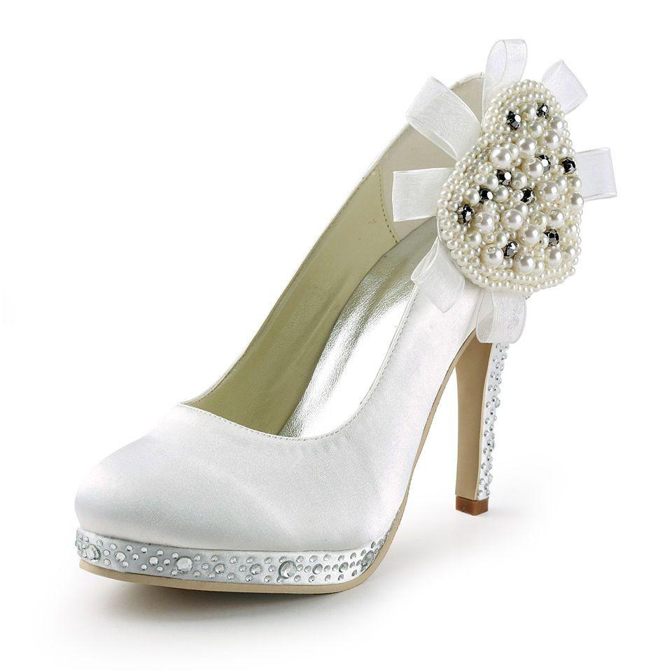 Perlen blume satin runde kappe niedrigen high heels plattform pumpt ...