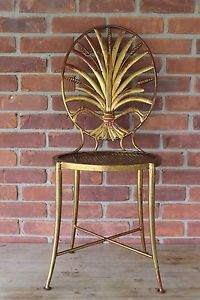 Vintage-ITALY-Italian-Gilt-Metal-Wheat-Sheave-Opera-Chair-estate-find-will-ship