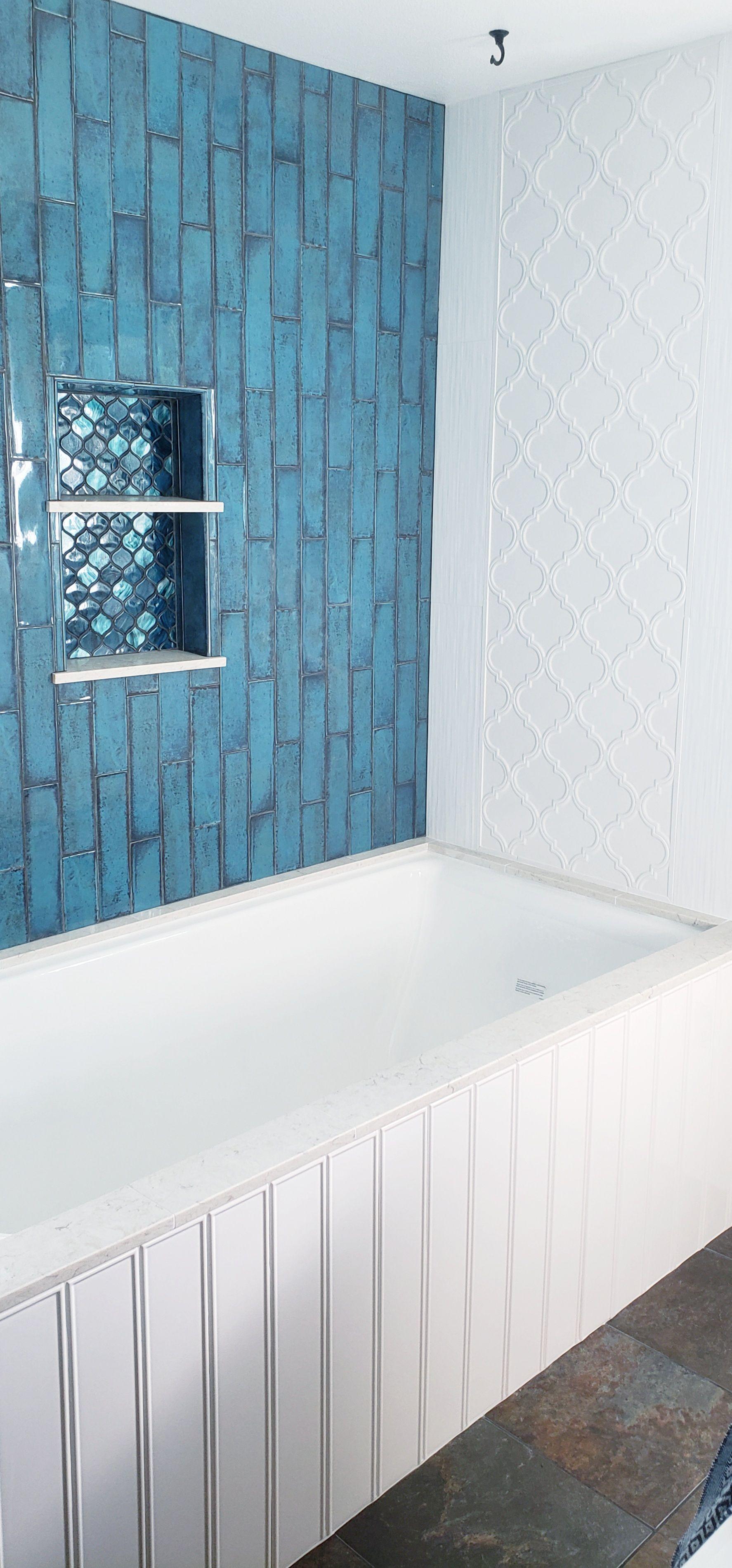 Castle Denim 3x12 Blue Ceramic Tile Subway Style In 2020 Ceramic Tiles Tile Design Castle