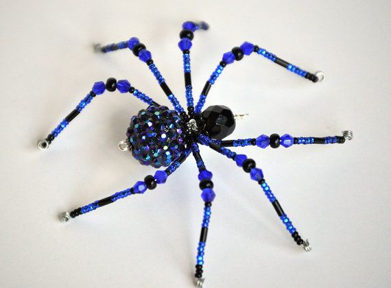 Helena cobalt blue and black glass beaded by MossandStoneStudio - spiders for halloween decorations