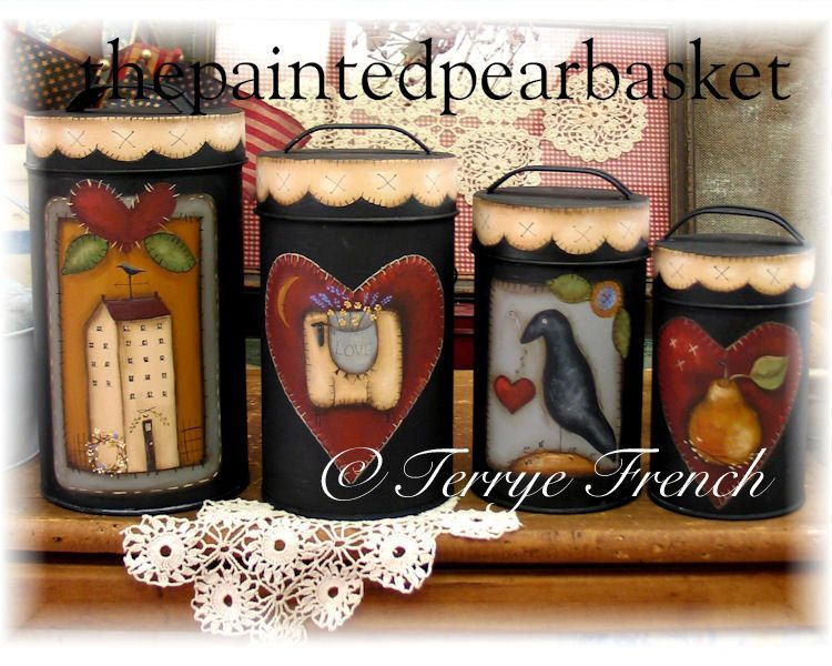 Homespun Canisters by Terrye French, Painting with Friends by PaintingWithFriends on Etsy