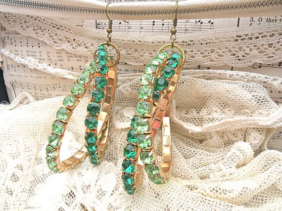 St Patricks hoop earrings assemblage funky irish by lilyofthevally