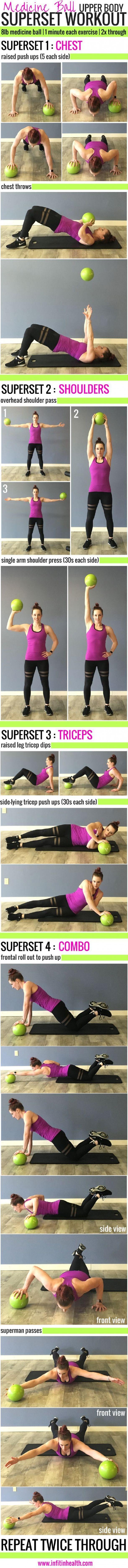 Medicine Ball Upper Body Superset Workout #fitness #burnbellyfatfast