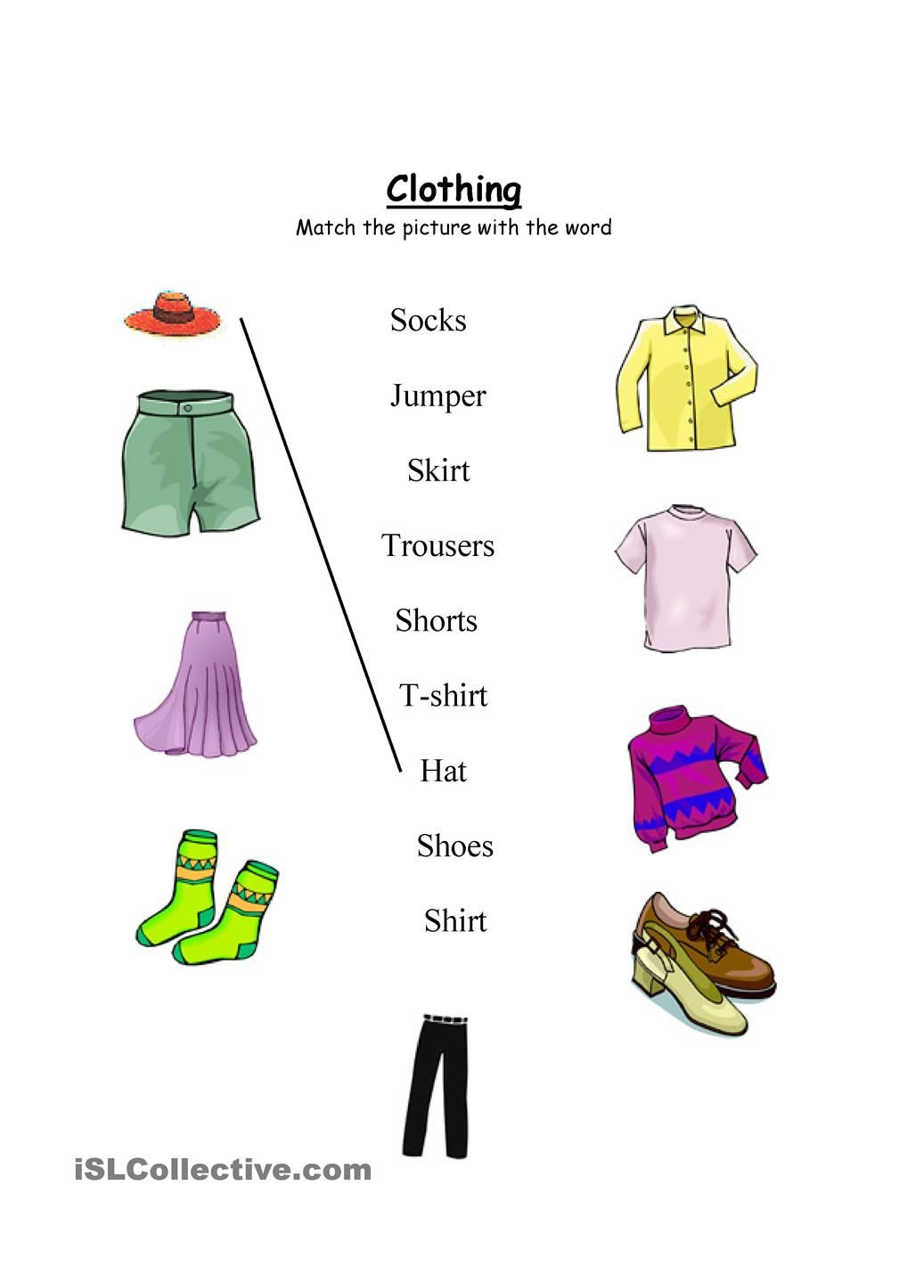 medium resolution of Clothing worksheet- Match and wordsearch   Clothes worksheet