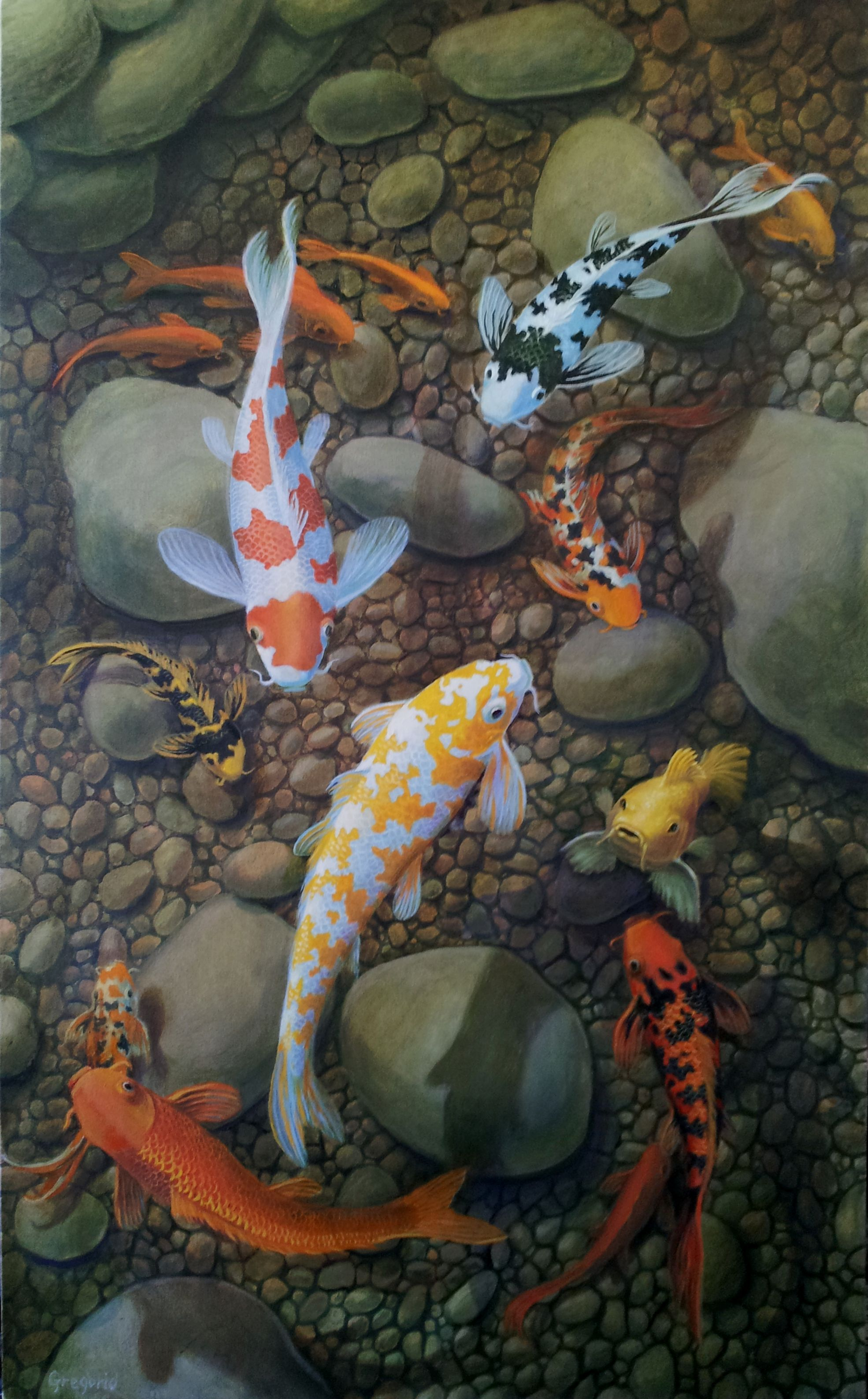 Gene gregorio good fortune 60 x 36 oil on canvas 4000 for Koi fish water