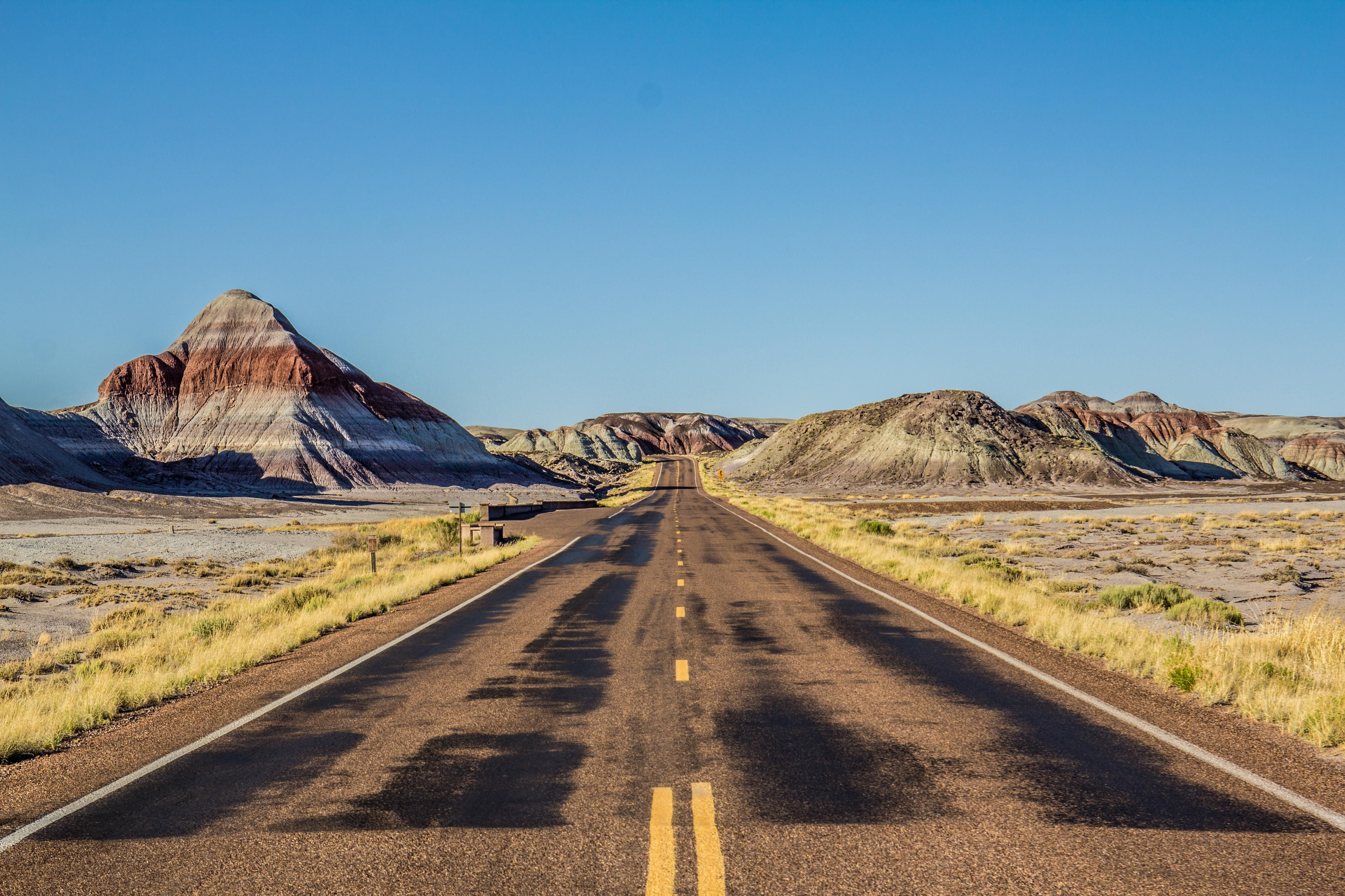 Road Through Painted Desert In Petrified Forest National Park Arizona Usa Travel