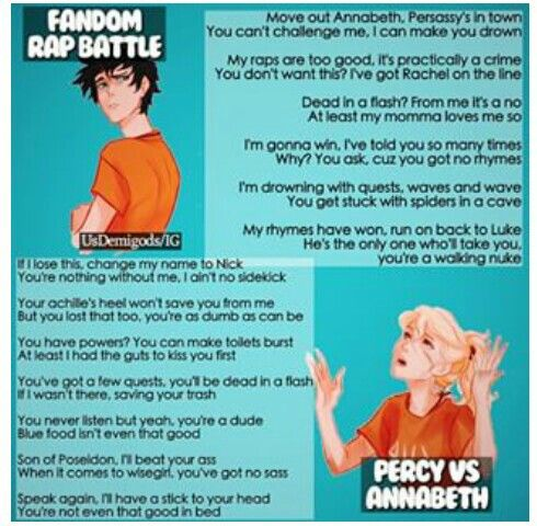 Fandom Rap Battle: Percy vs Annabeth  Who won? | Fandom Crossover