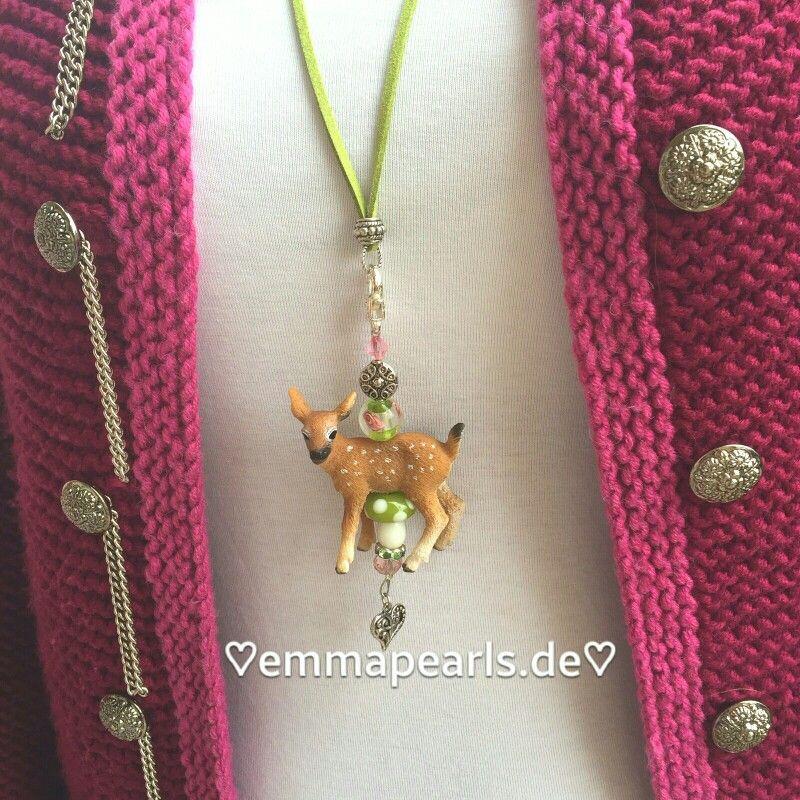 ♡HANDMADE BY EMMA PEARLS♡  Dirndl,-/Trachtenschmuck, Bambi grüner Pilz für's Oktoberfest