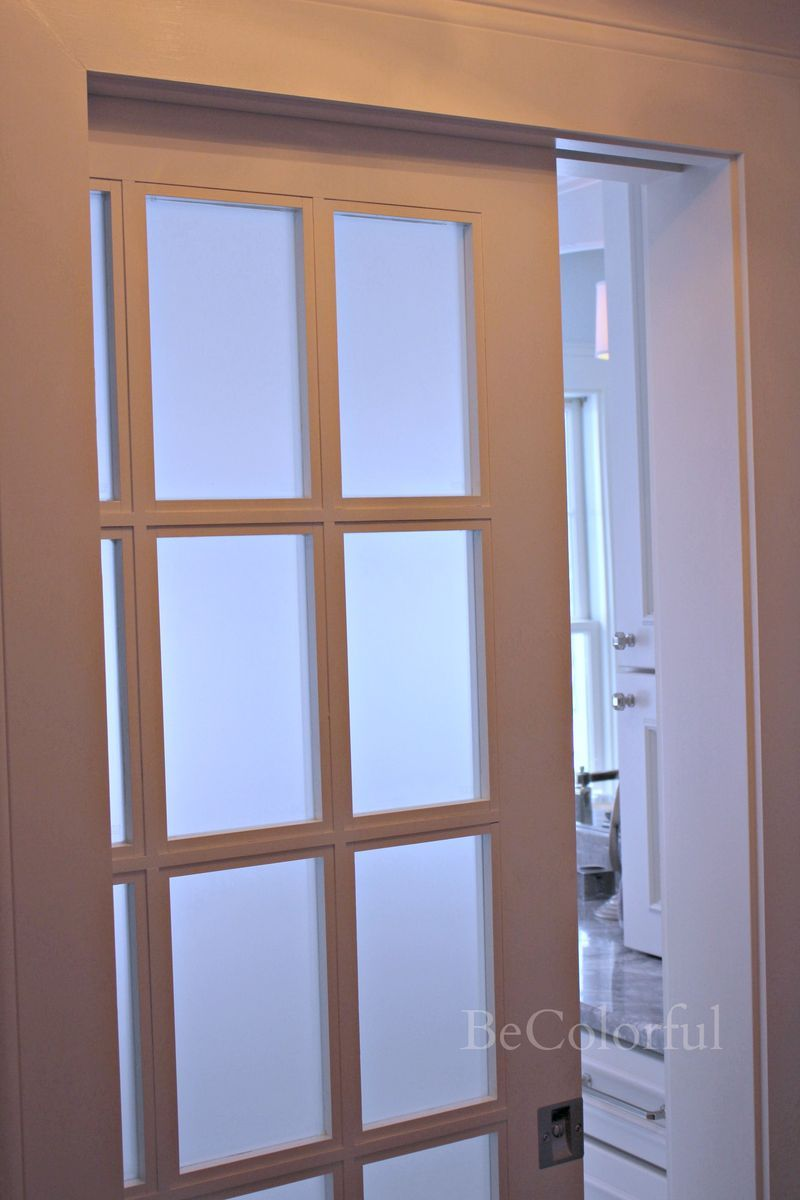 Welcome to our Master Bath pocket door with privacy glass | Our ...