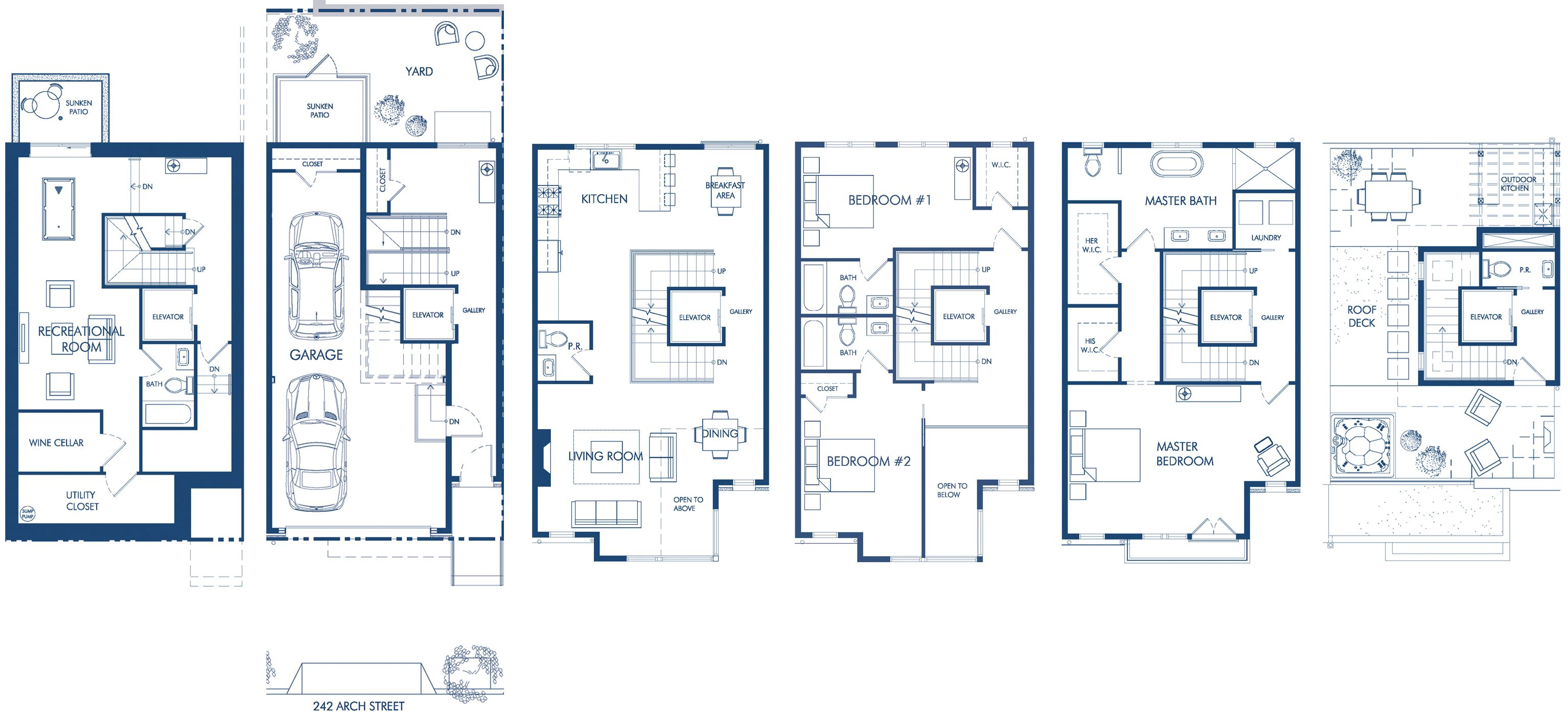 The ross luxury townhomes 242 arch street design for Urban townhouse floor plans