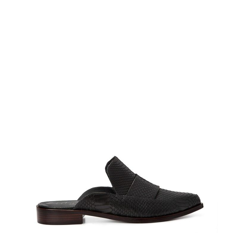 Tibi Snakeskin Denni Loafer - Black Loafer - ShopBAZAAR
