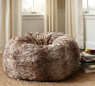 Faux Fur Beanbag Caramel Potterybarn