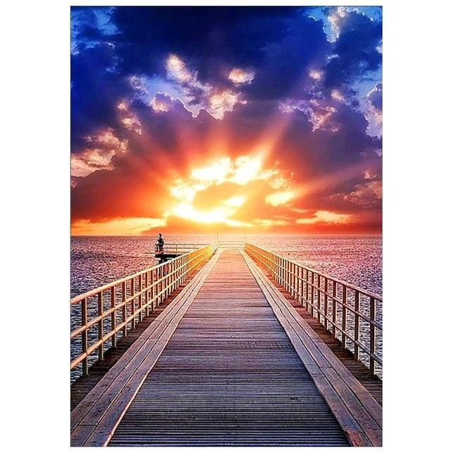 Photo of 5D DIY Diamond Painting Landscape Sunset Sea Kit Full Drill Embroidery Scenery Mosaic Art Picture of Rhinestones Home Decor Gift|Diamond Painting Cross Stitch| – ZS4073 / Square Drill 20X30cm / China