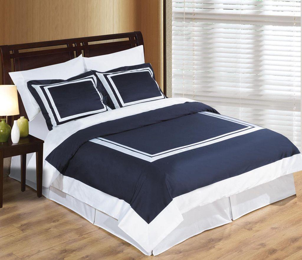 Wrinkle Free Egyptian Cotton Hotel Navy White Duvet Cover Set