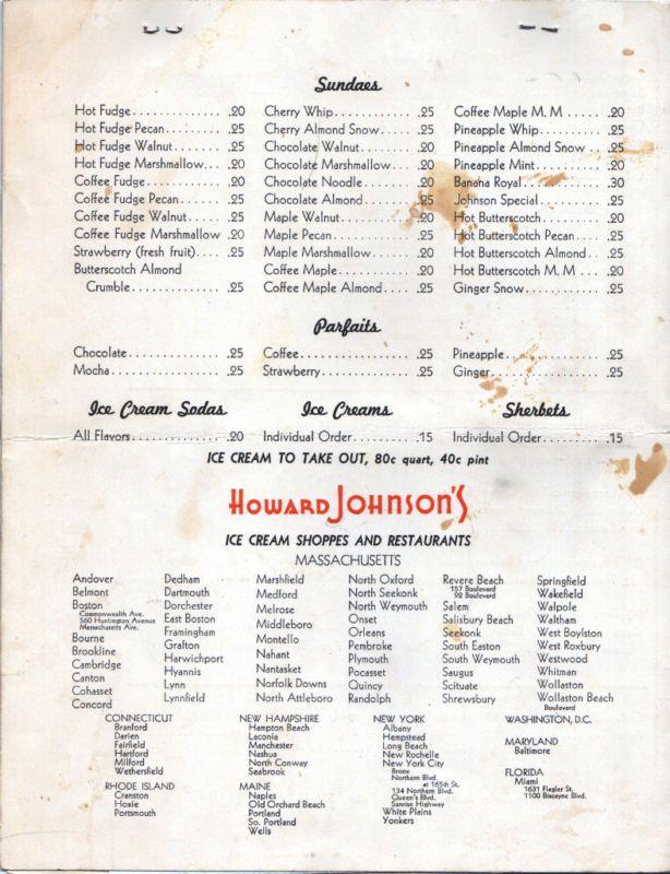 Menu 1940-Ice cream treats and restaurant locations ...