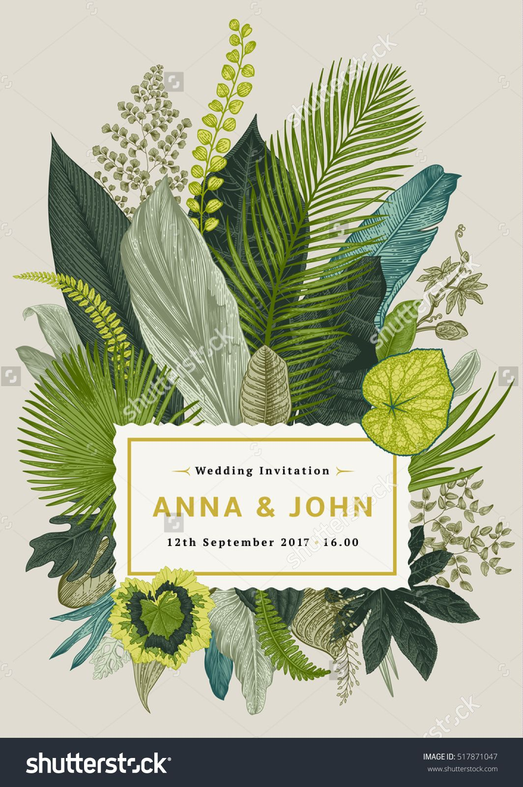 Vector vintage card wedding invitation botanical illustration vector vintage card wedding invitation botanical illustration tropical leaves stopboris Image collections
