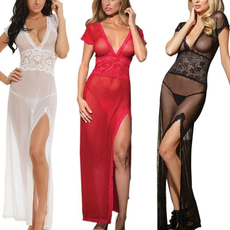 Women Sexy Night Gown Sheer Transparent Dress Backless Strap Mesh Dress Sleepwear Lingerie Thong Set S 2xl