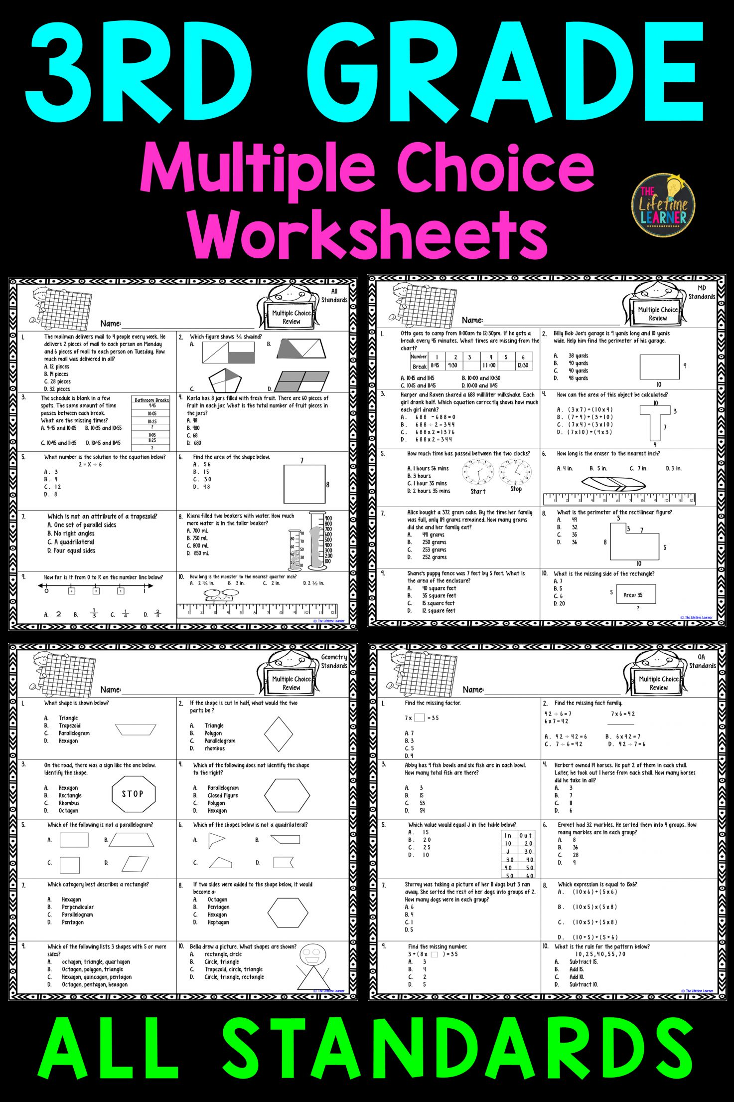 9 3rd Grade Test Prep Worksheets