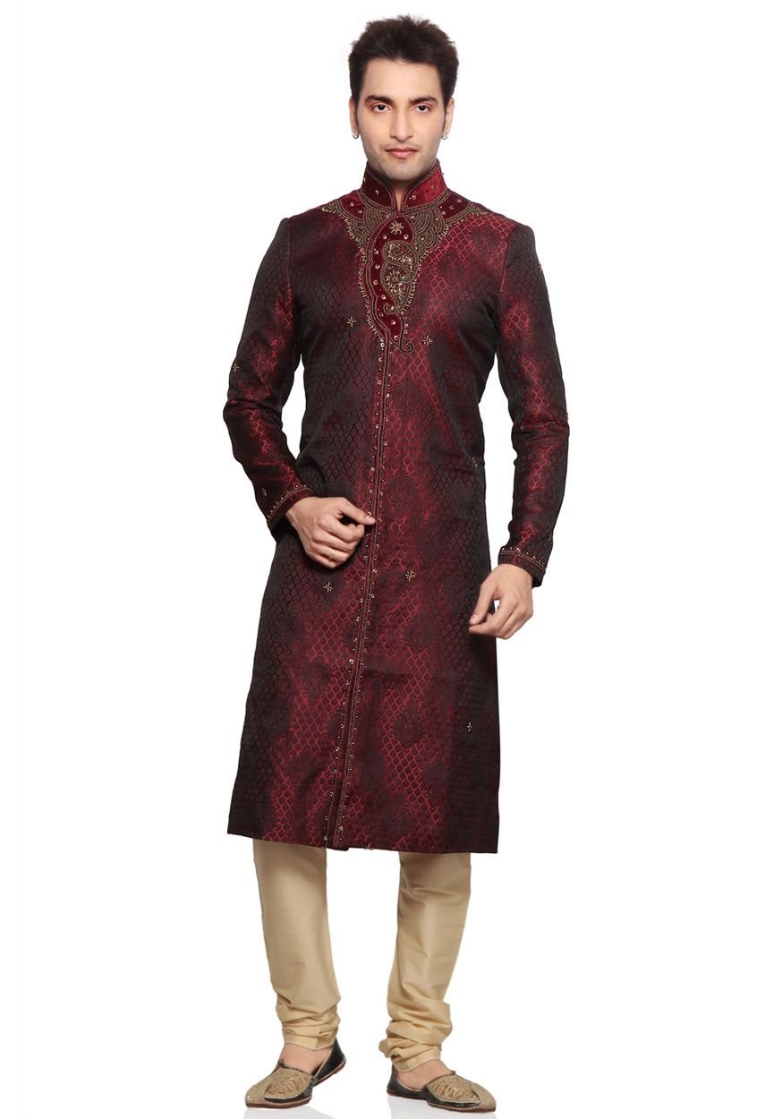 ad2b0db12096 Buy Dark Maroon Silk Brocade Readymade Sherwani with Churidar online, work:  Embroidered, color: Maroon, usage: Wedding, category: Mens Wear, fabric: Art  ...