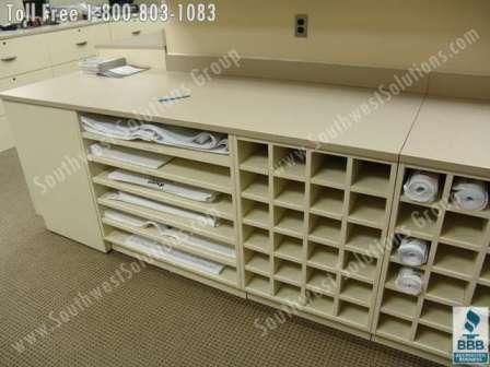 fire station workroom copy room plan drawing storage slots modular ...