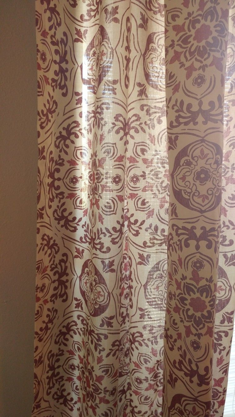 Amazing My Red Patterned Iona Curtains From Tuesday Morning. 108 Inches Long For  Only 20 Bucks