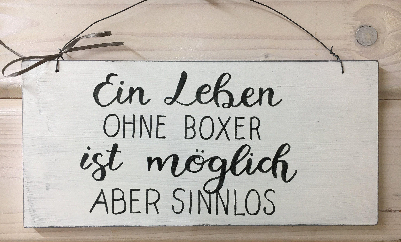 """Holzschild Deko Schild mit Spruch """"Ein Leben ohne…"""" Vintage handgemacht Türschild Zuhause Dekor Wohndeko Wanddekoration weiß Hund"""