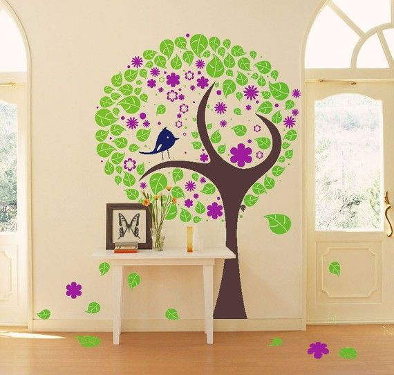 Blossom Tree Branch With Leaves and Starling by VINYL2079DECALS
