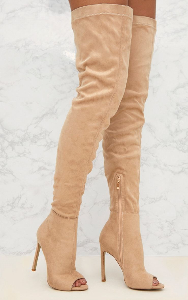 49fb99d792b Nude Velvet Thigh High Heeled BootFeaturing a simple thigh high fit with a block  heel