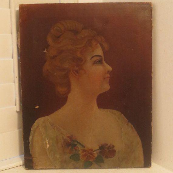 Antique Shabby Oil Portrait WOMAN Blonde Hair by AntiqueARTGarden