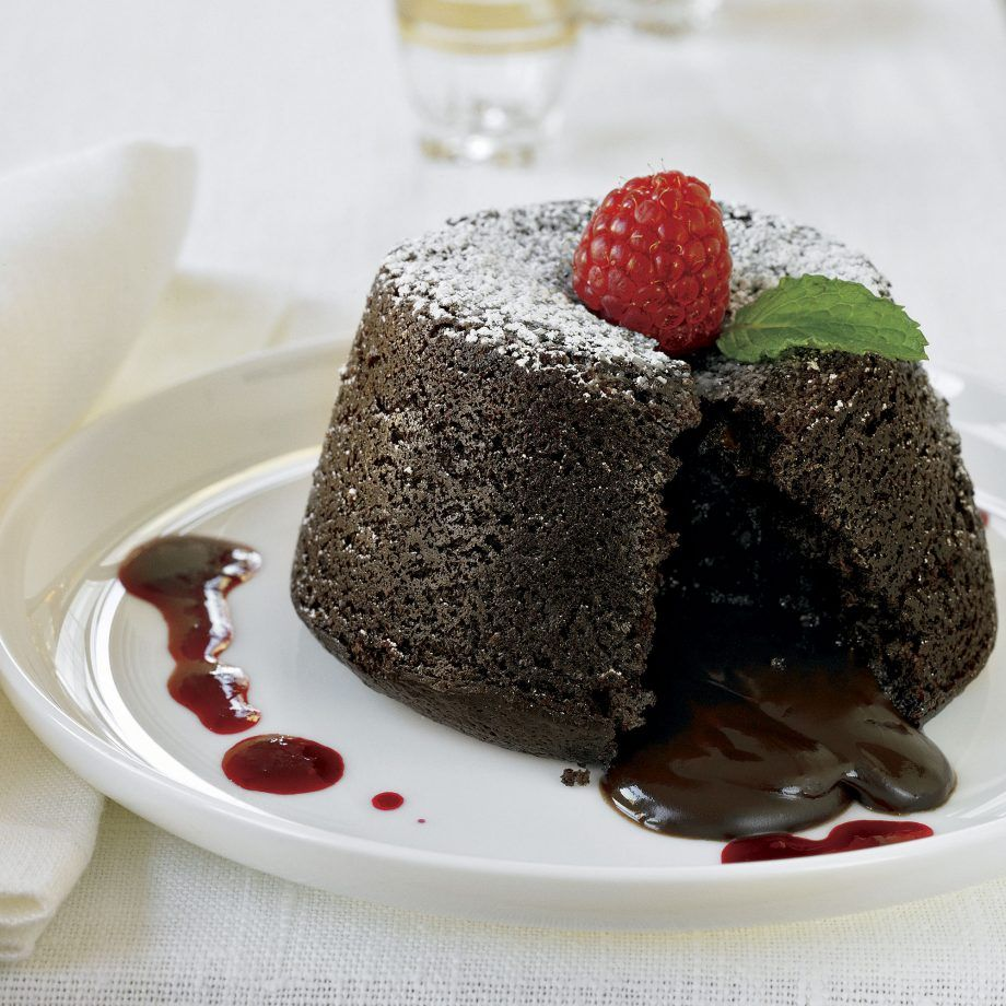 Chocolate Molten Lava Cakes with Raspberry Sauce