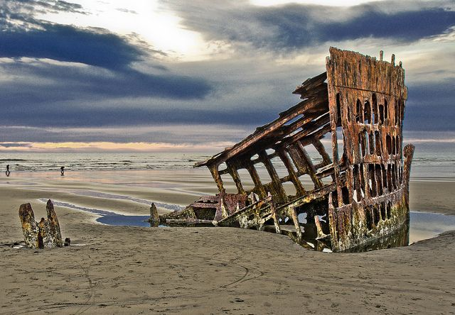 In Clatsop County on northern Oregon Coast, the remains of a 1906 ship wreck. USA