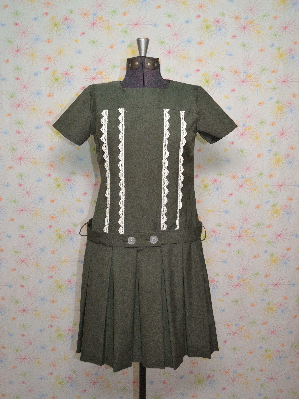 60s green dress  s Mod Drop Waist Dress S Vintage Olive Green Dress s School