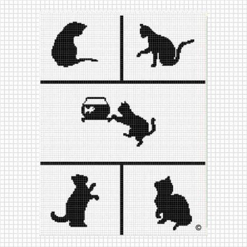 Pattern graph cats playing crochet afghan pattern graph