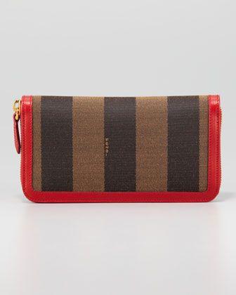 e3faa0a9715 Fendi Pequin Zip-Around Striped Canvas Wallet, Tobacco Red - Neiman Marcus