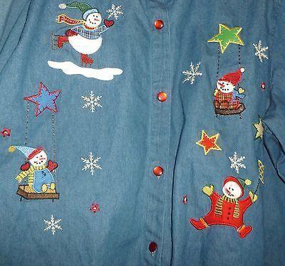 Vintage Women's Holiday Xmas Christmas Snowman Denim Shirt 26W/28W Bobbie Brooks