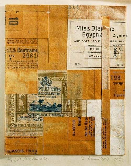 """Kurt Schwitters, Mz 231 Miss Blanche, 1923, collage.    Kurt Schwitters was born 125 years ago today. As a pioneer of collage, Schwitters had an important influence on Rauschenberg. After seeing a show of Schwitters' works at Sidney Janis gallery in 1959, Bob said """"I felt like he made it all just for me."""""""