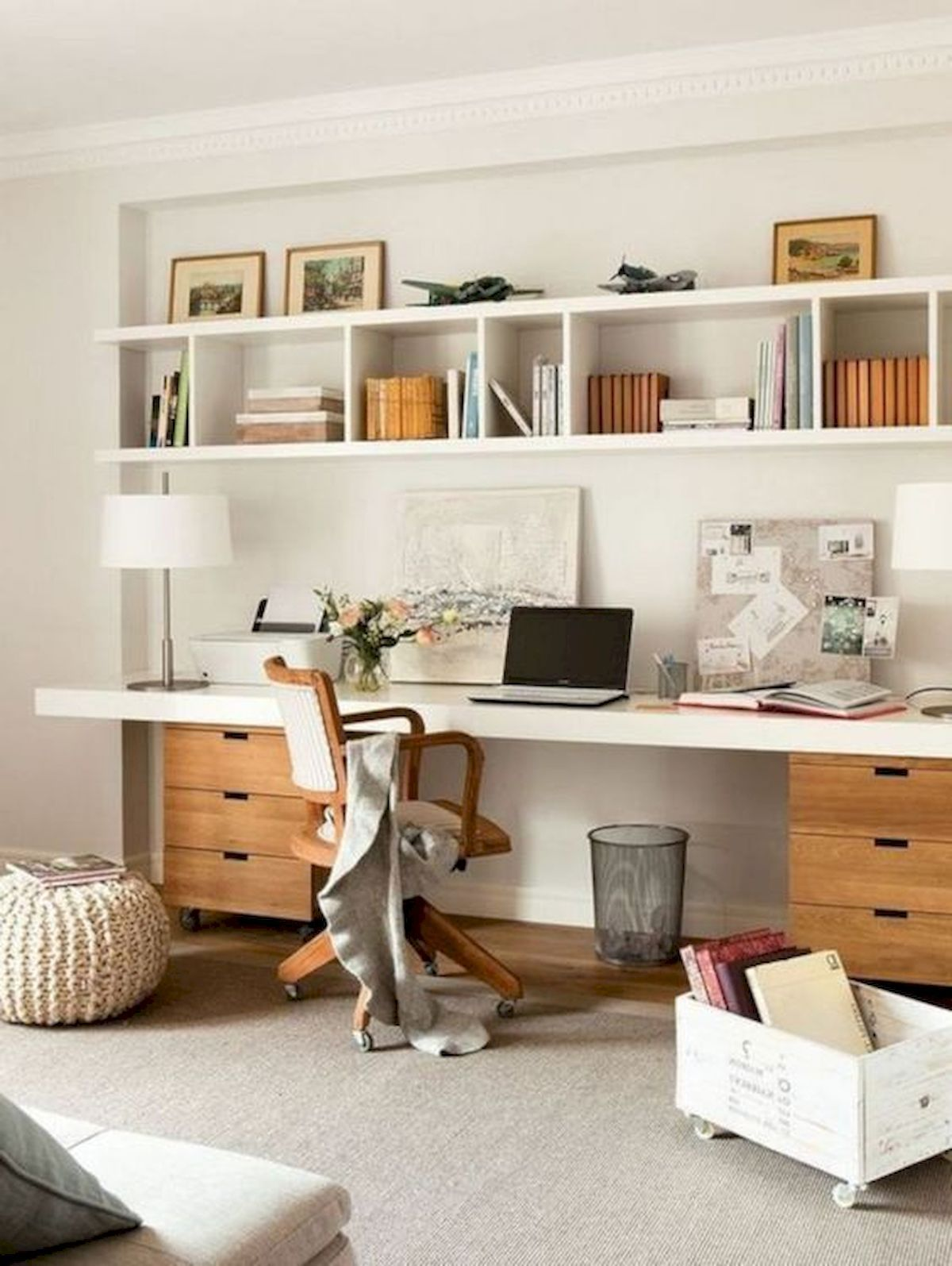 55 Incredible Diy Office Desk Design Ideas And Decor 1 In 2020 With Images Office Desk Designs Home Office Cabinets Cozy Home Office