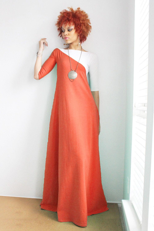 Rust Orange and White 3/4 Sleeve Maxi Dress by Dimiloc on