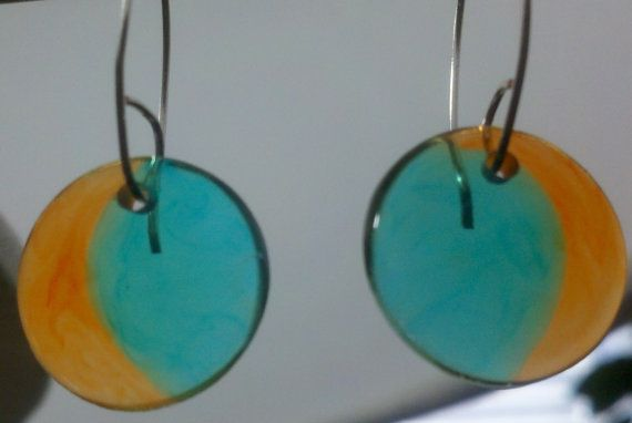 Cyber Monday Sale  Go Dolphins Orange and Turquoise Earrings by Jewellori, $12.00