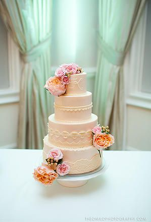 Traditional wedding cake with roses Imaginary Cakes Wilmington