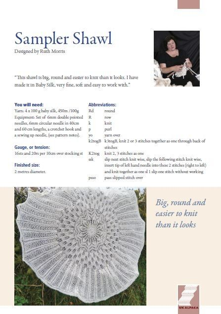 Sampler Shawl in UK Alpaca Baby Alpaca & Silk DK - Digital Version | Downloadable Knitting Patterns | Knitting Patterns | Deramores