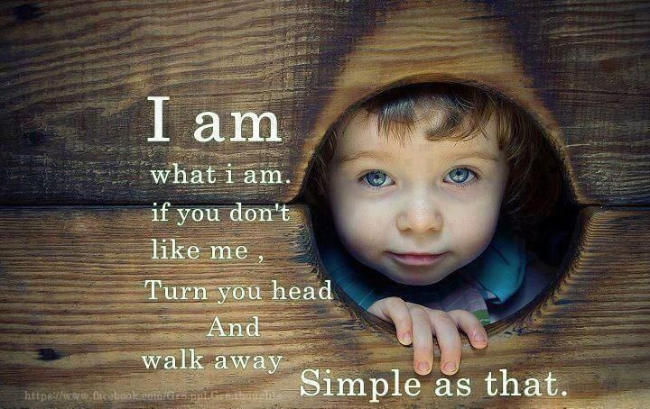 I am what I am if you don't like me turn your head and walk away simple as that