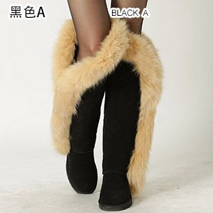 f2ced5d24a9 INOE fashion fox fur real sheepskin leather long wool lined thigh suede  women winter snow boots