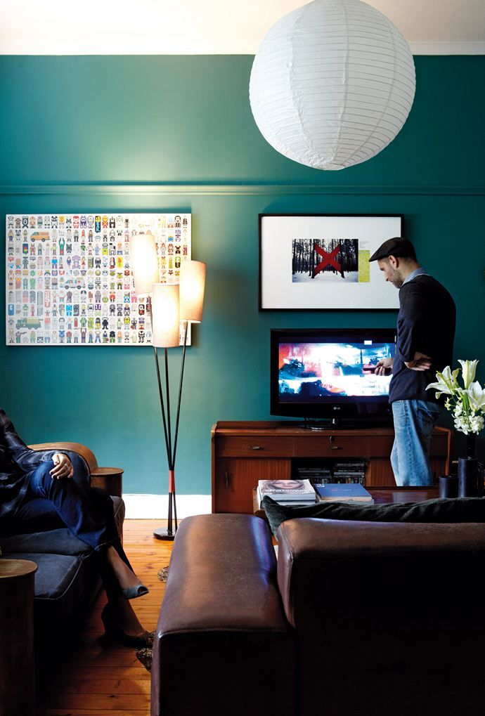 Dark Teal Wall love this for the living room home ideas