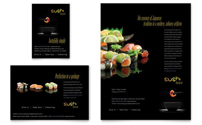Sushi Restaurant Flyer \ Ad Design Grafico Pinterest Sushi - restaurant flyer