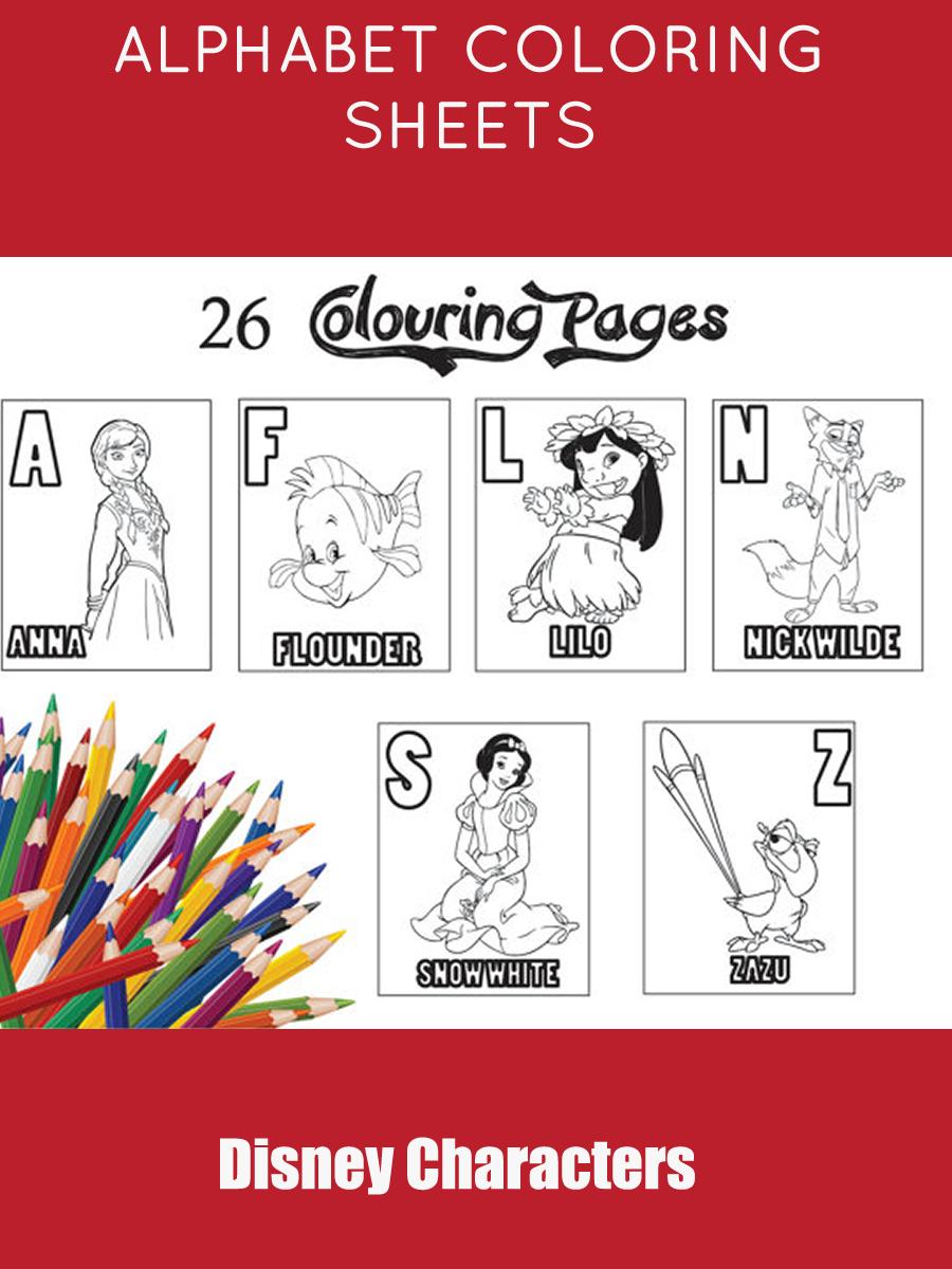 Disney Characters Alphabet| Children\'s Coloring Pages| Alphabet ...