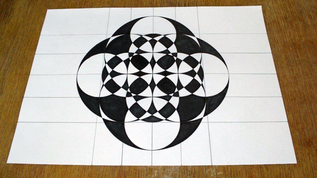 Geometric Drawing Circles In A Grid Geometric Drawing Pattern Design Drawing Geometric Art