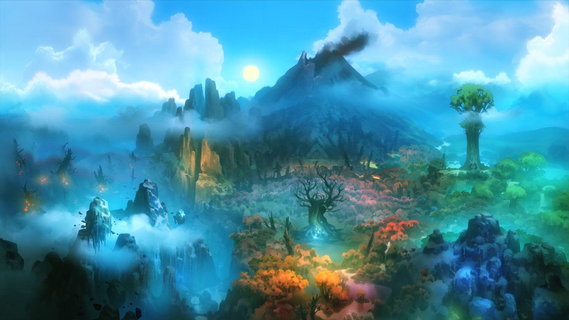 Ori And The Blind Forest Game Art Johannes Figlhuber Fantasy Art Landscapes Forest Wallpaper Fantasy Landscape