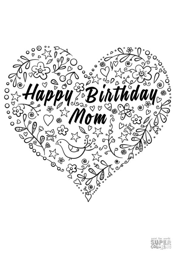Happy Birthday Mom Coloring Page | Mom coloring pages ...