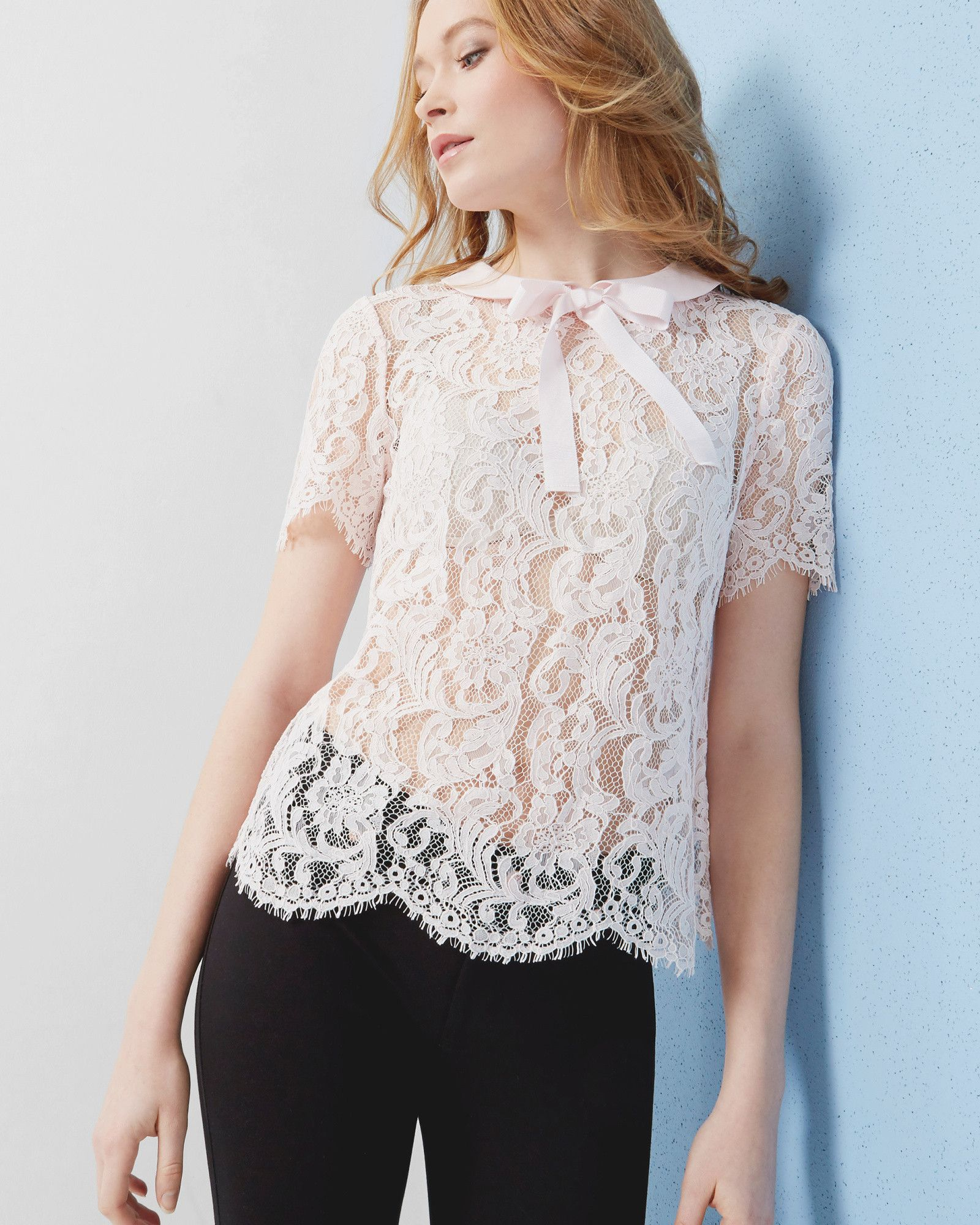 742b68278639a Bow detail lace top - Baby Pink